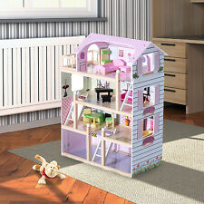 Kids Doll House Cottage Dollhouse Wooden with 13 Piece Furnitures Pink MDF