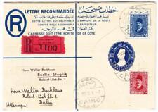 Egypt REGISTERED POSTAL ENVELOPE-HG:C4-uprated Sc#140,#136-CAIRO 1/MR/35-