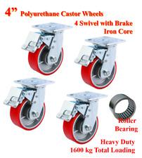 """4"""" (100mm) Heavy Duty PU Castor Wheels, 4 Swivels with Brake, Trolley Caster"""