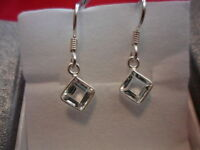 White Topaz Bezel Set Square Dange Earrings in 925 Sterling Silver-2.50 Carats