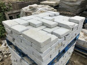 Grey 100x200mm Genuine Yorkshire stone Tumbled setts block Paving Path driveway