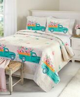 Spring Truck Full Queen King QUILT or 3 PC SET or PILLOW SHAM Floral Garden Bed