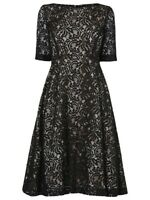 Phase Eight Louanna Black & Nude Lace Special Occasion Midi Dress Size 18 BNWOT