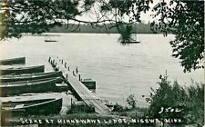 A View Of The Canoes Moored At The Pier, Minnewawa Lodge, Nisswa MN RPPC
