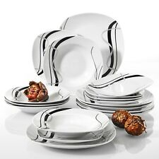 VEWEET FIONA 18-Pieces Porcelain Dinner Set Tableware Dessert Soup Dinner Plate