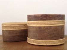 Vintage Japan Oval Shaped Hand Made Wood Box with Woven Cane Border