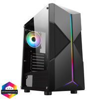CIT Pyro Mid ATX Tower Gaming PC Case RGB Ring LED Fan 7 Strip Tempered Glass.
