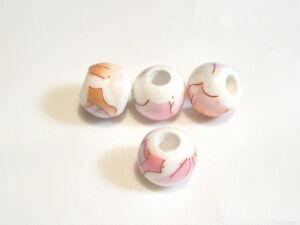 10 pcs x Flat Round Porcelain Beads : Porc83 Floral