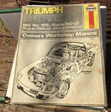 Triumph Spitfire 1962-1978 Hanes owners workshop manual very good condi 00006000 tion