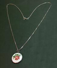Antikes Jugendstil-MEDAILLON Rose m. Guilloche-EMAILLE ~1900 • lange Silberkette