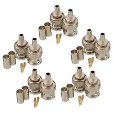 10 Sets 3-Piece BNC Plug Crimp Connectors for RG58 Coax Male Antenna Cable