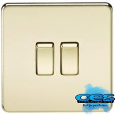 Knightsbridge Screwless Flatplate  10 Amp 2 Gang 2 Way Switch Polished Brass