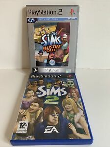 The Sims 2 & The Sims Bustin Out / Playstation 2 / PS2 Bundle (250)