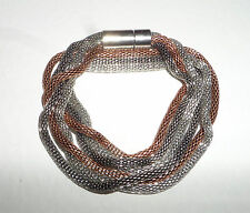 Envoltura de Cadena Serpiente Triple Pulsera De Plata Plateado Char negro y plateado de cobre