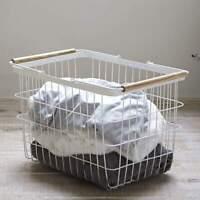 Yamazaki Wäschekorb Wäschesammler M weiß Metall Gitter mit Holz Tosca