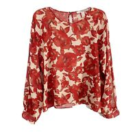 Forever 21 Red Beige Floral Crew Neck Long Sleeve Sheer Blouse Womens Size Large