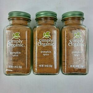 Simply Organic Pumpkin Spice 1.94 oz LOT of 3 Pie Expires Oct 2022 Holiday B17