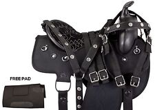 16 17 BLACK SYNTHETIC CORDURA LIGHT PLEASURE TRAIL WESTERN HORSE SADDLE TACK