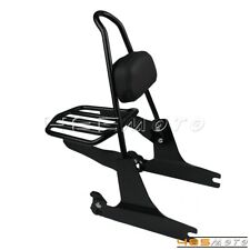 Motorcycle Detachable Sissy Bar Backrest Luggage Rack For Harley Dyna 2002-Later