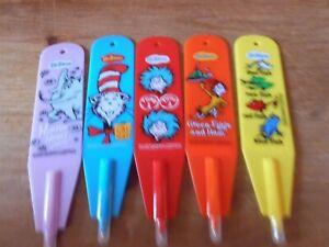 Set of 5 Dr Seuss Bookmark Pen - Black ink - Brand New