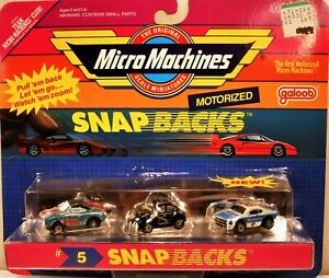 """#5 SNAP BACKS SET"" 3 SCARCE MOTORIZED DIE-CAST CARS 1990 GALOOB MICRO MACHINES"