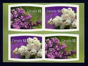 LILAC = Block of 4 on GREEN BACKGROUND = BK CUT Canada 2007 #2207-08 MNH