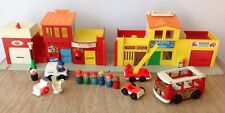Vintage Fisher-Price Little People Village 997 Fire Truck Bus Car Figures Toy