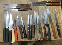 Vintage Lot Kitchen Knives lot of 22 Paring Steak Grapefruit Wood Handles
