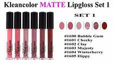 6 PCs Kleancolor Madly MATTE Lipgloss - Bold & Vivid Color Matte Lipgloss Set 1