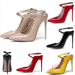 Patent Leather OL Shoes Womens Ankle Strap Stiletto High Heels Slingback Sandals