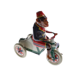 1PC Wind Up Toy Collectible Retro Clockwork Tin Toys Monkey Riding A Car S_DD