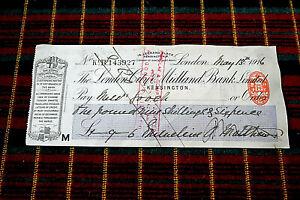 LONDON CITY & MIDLAND BANK 16 Leonard Place Kensington CHEQUE 13 May 1916