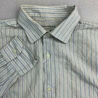 Banana Republic Button Up Shirt Mens Sz L Gray Brown Long Sleeve Striped Cotton