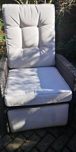 Regatta Rattan Rocking Garden Chair Set Reclining Armchairs Glass Top Table