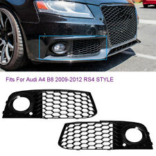 Fit For Audi A4 B8 2009-12 RS4 Style Honeycomb Mesh Fog Light Grill Grille Cover