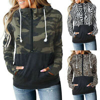 Women's Leopard Camo Long Sleeve Hoodie Tops Sweatshirt Hooded Jumper Pullover