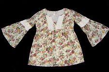 Next Crème Lilas Floral Coton Doux DENTELLE PAYSANNE HAUT poète artiste Gypsy Boho S/M