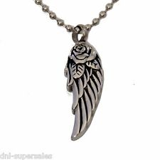 """""""Rose Eagle Wing"""" Cremation Urn Jewelry Stainless  Pendant Necklace Ash Memorial"""