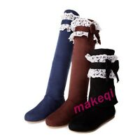 Ladies Womens Sweet Cute Faux Suede Flat Bow Tie Knee High Boots Shoes Cute New