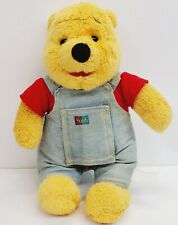 Vintage Winnie Pooh Bear Plush wearing Story Book Overalls Mattel 1995 Soft Toy
