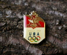 """A Seoul 1988 USA"" Anheuser-Busch Beer Olympic Rings Gold Tone Metal Pin Pinback"