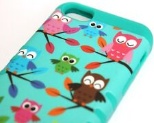 iPhone 5C - HARD & SOFT RUBBER HYBRID HIGH IMPACT CASE TURQUOISE GREEN BLUE OWLS