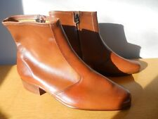 Nos Vintage 1970s Permasole Ankle Trucker Zipper Boots Mod Motorcycle Riding 8.5