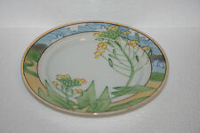 Hand Painted Nippon White Bone China Decorative Plate Yellow Floral Design  Gold