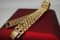 18ct 18K Yellow gold solid Diamond cut Watch band womens mens bracelet 8' 20cm