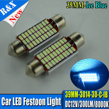 2X 3014 SMD LED 38 39mm 239 272 CANBUS NO ERROR ICE BLUE NUMBER PLATE LIGHT BULB