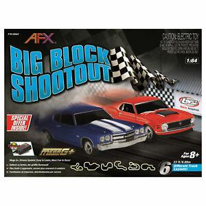 AFX Big Block Shootout Slot Muscle Car Race 23 Feet Ford vs Chevy Set AFX22022