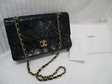 CHANEL Flap Chain Shoulder Bag Black Leather Vintage