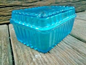 1930s Vintage Blue Glass Unique Shape Butter Box  Belgium