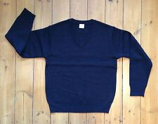New Navy Blue V Neck Wool Blend Jumper - Age 13